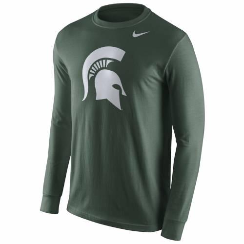 ナイキ NIKE ミシガン スケートボード ロゴ スリーブ Tシャツ 緑 グリーン メンズファッション トップス カットソー メンズ 【 Michigan State Spartans Cotton Logo Long Sleeve T-shirt - Green 】 Green