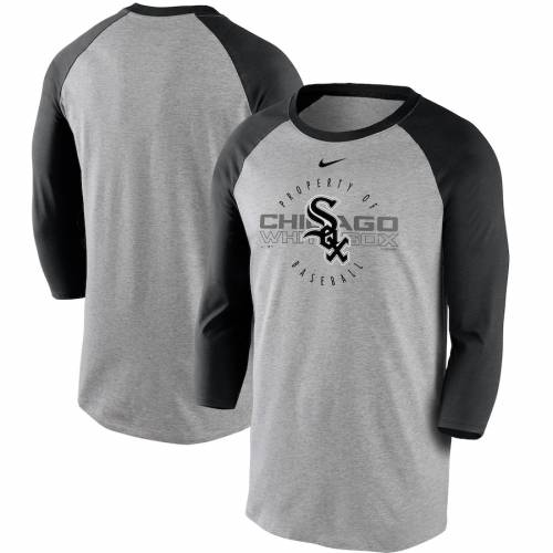 ナイキ NIKE シカゴ 白 ホワイト ラグラン スリーブ Tシャツ 灰色 グレー グレイ 黒 ブラック 【 WHITE RAGLAN SLEEVE GRAY BLACK NIKE CHICAGO SOX PROPERTY OF TRIBLEND 3 4 TSHIRT 】 メンズファッション トップ