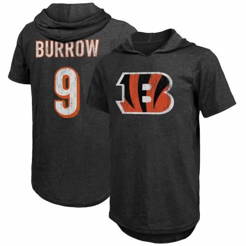 MAJESTIC THREADS シンシナティ ベンガルズ Tシャツ 黒 ブラック メンズファッション トップス カットソー メンズ 【 Joe Burrow Cincinnati Bengals Tri-blend Hooded Name And Number T-shirt - Black 】 Black