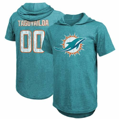 MAJESTIC THREADS マイアミ ドルフィンズ Tシャツ アクア メンズファッション トップス カットソー メンズ 【 Tua Tagovailoa Miami Dolphins Tri-blend Hooded Name And Number T-shirt - Aqua 】 Aqua