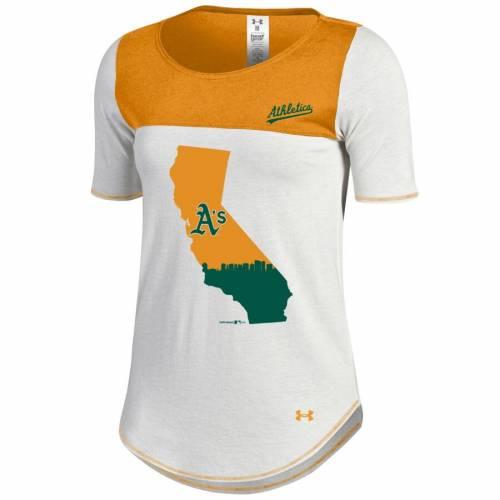 アンダーアーマー UNDER ARMOUR オークランド レディース Tシャツ レディースファッション トップス カットソー 【 Oakland Athletics Womens Shirzee T-shirt - White/gold 】 White/gold