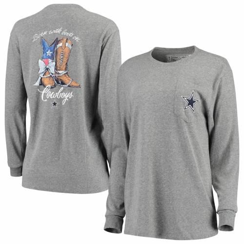 LAUREN JAMES ダラス カウボーイズ レディース スリーブ Tシャツ 灰色 グレー グレイ レディースファッション トップス カットソー 【 Dallas Cowboys Womens Born With Boots Long Sleeve Tri-blend T-shirt - He