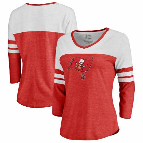 NFL PRO LINE BY FANATICS BRANDED バッカニアーズ レディース ロゴ スリーブ ラグラン Tシャツ 赤 レッド レディースファッション トップス カットソー 【 Tampa Bay Buccaneers Womens Distressed Primary Logo