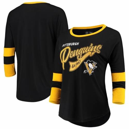 G-III 4HER BY CARL BANKS ピッツバーグ レディース ゲーム Tシャツ レディースファッション トップス カットソー 【 Pittsburgh Penguins Womens Game Changer 3/4-sleeve T-shirt - Black/gold 】 Black/gold