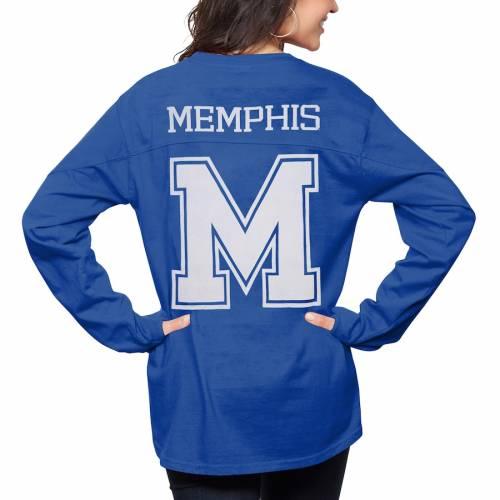 PRESSBOX メンフィス タイガース レディース スリーブ Tシャツ レディースファッション トップス カットソー 【 Memphis Tigers Womens The Big Shirt Oversized Long Sleeve T-shirt - Royal 】 Royal