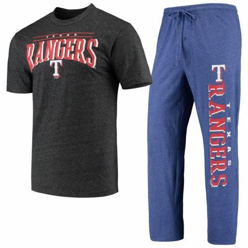 CONCEPTS SPORT テキサス レンジャーズ チャコール インナー 下着 ナイトウエア メンズ ナイト ルーム パジャマ 【 Texas Rangers Holiday Pants And Top Sleep Set - Heathered Royal/heathered Charcoal 】 Heathered Ro