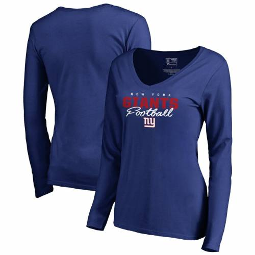 NFL PRO LINE BY FANATICS BRANDED プロ ジャイアンツ レディース コレクション スクリプト スリーブ ブイネック Tシャツ WOMEN'S 【 NFL SLEEVE PRO LINE BY FANATICS BRANDED NEW YORK GIANTS ICONIC COLLECTION SCRIPT ASSIS