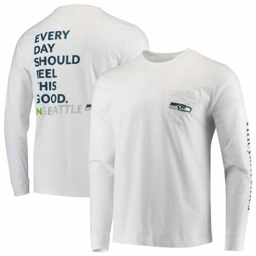 VINEYARD VINES シアトル シーホークス Tシャツ 白 ホワイト 【 WHITE VINEYARD VINES SEATTLE SEAHAWKS EVERY DAY SHOULD FEEL THIS GOOD TSHIRT 】 メンズファッション トップス Tシャツ カットソー