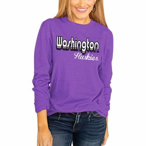 <title>スポーツブランド カジュアル ファッション ゲームデイカルチャー GAMEDAY COUTURE 秀逸 ワシントン ハスキーズ レディース スリーブ Tシャツ 紫 パープル WOMEN'S 長袖 SLEEVE PURPLE THROWBACK VARSITY VIBES TSHIRT レディースファッシ</title>