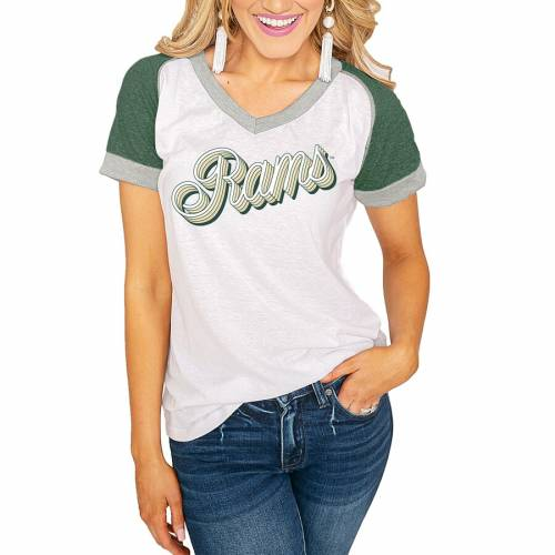 値引 ゲームデイカルチャー GAMEDAY COUTURE コロラド スケートボード ラムズ レディース Vネック Tシャツ 白色 ホワイト 緑 グリーン コロラドステイト WOMEN&39;S 【 STATE GREEN GAMEDAY COUTURE ON THE ROAD AGAIN, 不老庵 246d41a2