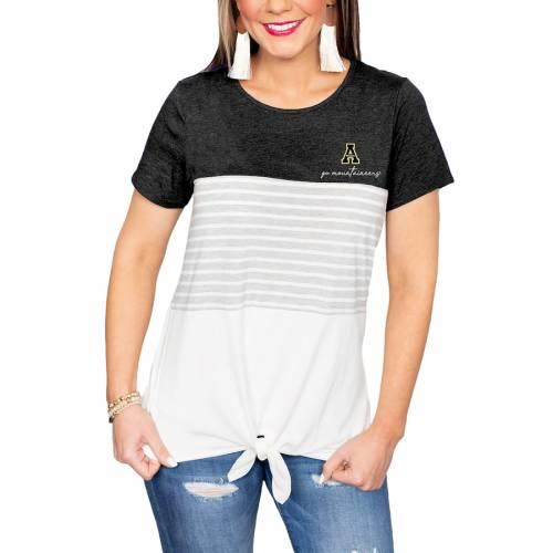 2020年激安 ゲームデイカルチャー GAMEDAY COUTURE スケートボード マウンテニアーズ レディース Tシャツ 白色 ホワイト WOMEN&39;S 【 STATE GAMEDAY COUTURE APPALACHIAN MOUNTAINEERS WHY KNOT COLORBLOCKED TSHIRT WHITE 】 レディ, 買付け屋 5be857cf