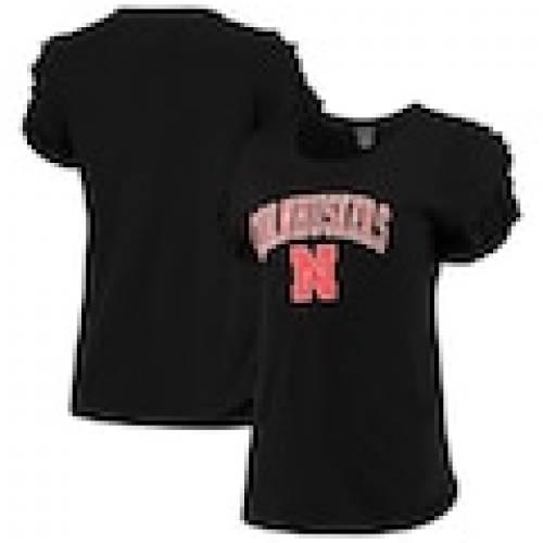 【大特価!!】 ボクサークラフト BOXERCRAFT ネブラスカ レディース スリーブ Tシャツ 黒色 ブラック WOMEN&39;S 【 SLEEVE BOXERCRAFT NEBRASKA HUSKERS RUFFLE TSHIRT BLACK 】 レディースファッション トップス Tシャツ カッ, らいふさぽーと 8b7ce2e5