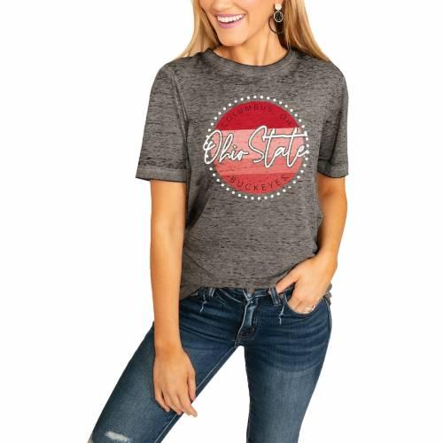 スポーツブランド カジュアル ファッション ゲームデイカルチャー GAMEDAY COUTURE [再販ご予約限定送料無料] 超特価 オハイオ スケートボード バックアイズ レディース フリー TSHIRT チャコール FREE オハイオステイト WOMEN'S CH BOYFRIEND Tシャツ FADED STATE