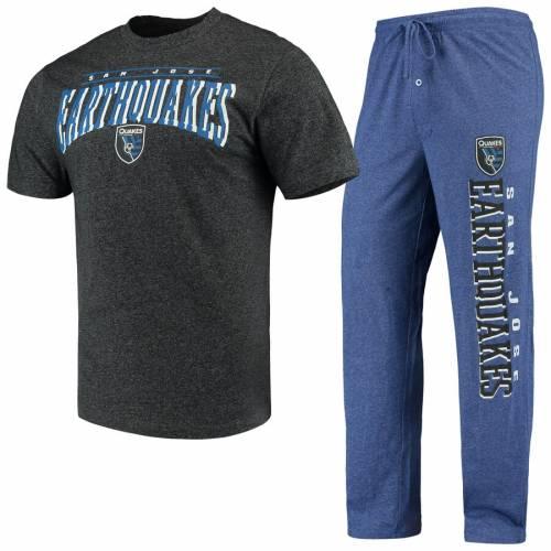 CONCEPTS SPORT インナー 下着 ナイトウエア メンズ ナイト ルーム パジャマ 【 San Jose Earthquakes Spar Pants And Top Sleep Set - Royal/charcoal 】 Royal/charcoal
