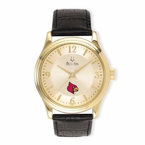 ブローバ BULOVA ルイビル カーディナルス ステンレス 銀色 スチール レザー ウォッチ 時計 金色 ゴールド 黒 ブラック 【 WATCH BLACK BULOVA LOUISVILLE CARDINALS STAINLESS STEEL LEATHER BAND GOLD 】 腕時計