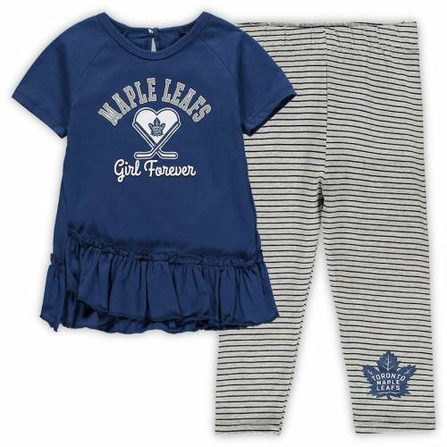 OUTERSTUFF トロント ベビー 赤ちゃん用 ラグラン レギンス タイツ 赤ちゃん 幼児 キッズ マタニティ ジュニア 【 Toronto Maple Leafs Girls Toddler Fly On Ice Raglan Top And Leggings Set - Blue/gray 】 Blue/gray
