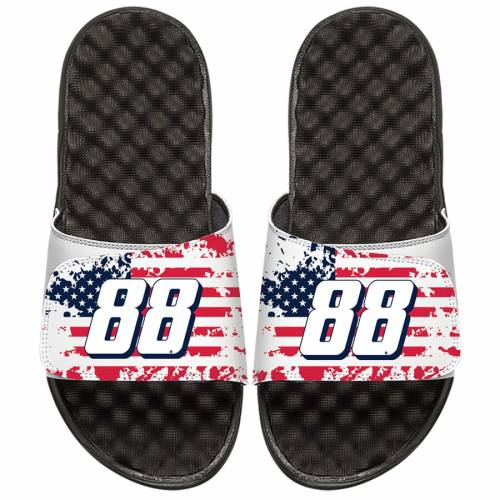 ISLIDE 子供用 キッズ ベビー マタニティ ジュニア 【 Alex Bowman Youth American Flag Side Sandals 】 White