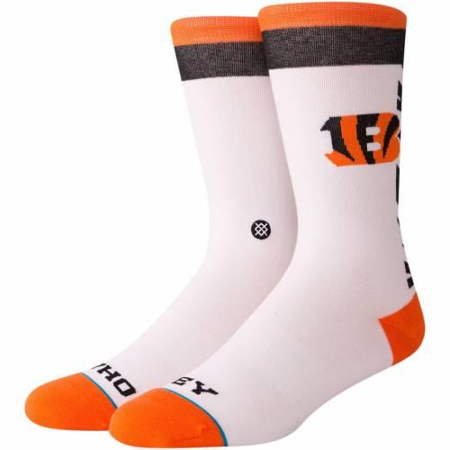 スタンス STANCE シンシナティ ベンガルズ ソックス 靴下 白 ホワイト インナー 下着 ナイトウエア メンズ 下 レッグ 【 Cincinnati Bengals Local Sayings Crew Socks - White 】 White