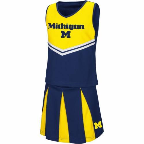 COLOSSEUM ミシガン 子供用 紺 ネイビー キッズ ベビー マタニティ ジュニア 【 Michigan Wolverines Youth Girls Pom Pom Cheer Set - Navy 】 Navy