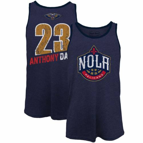 MAJESTIC THREADS マジェスティック アンソニー タンクトップ 紺 ネイビー & 【 NAVY MAJESTIC THREADS ANTHONY DAVIS NEW ORLEANS PELICANS NAME NUMBER TRIBLEND TANK TOP 】 メンズファッション トップス タンクト