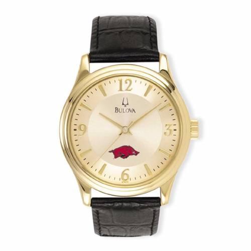 ブローバ BULOVA ステンレス 銀色 スチール レザー ウォッチ 時計 黒 ブラック 【 WATCH BLACK BULOVA ARKANSAS RAZORBACKS STAINLESS STEEL LEATHER BAND GOLD 】 腕時計 メンズ腕時計