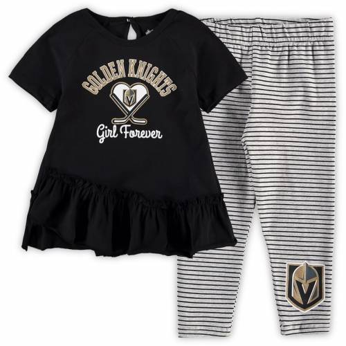 OUTERSTUFF ベビー 赤ちゃん用 ラグラン レギンス タイツ 赤ちゃん 幼児 キッズ マタニティ ジュニア 【 Vegas Golden Knights Girls Toddler Fly On Ice Raglan Top And Leggings Set - Black/gray 】 Black/gray