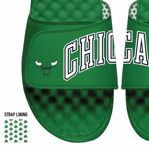 ISLIDE シカゴ ブルズ サンダル 緑 グリーン 【 SLIDE GREEN ISLIDE CHICAGO BULLS SPLIT SANDALS 】 メンズ サンダル スポーツサンダル