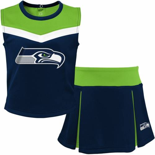 OUTERSTUFF シアトル シーホークス 子供用 カレッジ 緑 グリーン 紺 ネイビー 【 GREEN NAVY OUTERSTUFF SEATTLE SEAHAWKS YOUTH TWOPIECE SPIRIT CHEERLEADER SET COLLEGE NEON 】 キッズ ベビー マタニティ