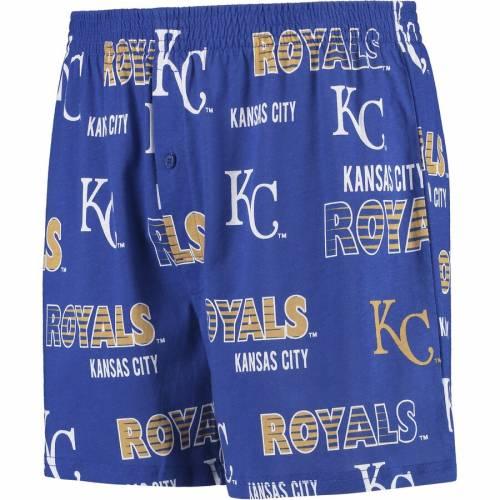 CONCEPTS SPORT カンザス シティ ロイヤルズ ニット ショーツ ハーフパンツ インナー 下着 ナイトウエア メンズ 【 Kansas City Royals Sweep Allover Knit Boxer Shorts - Royal 】 Royal