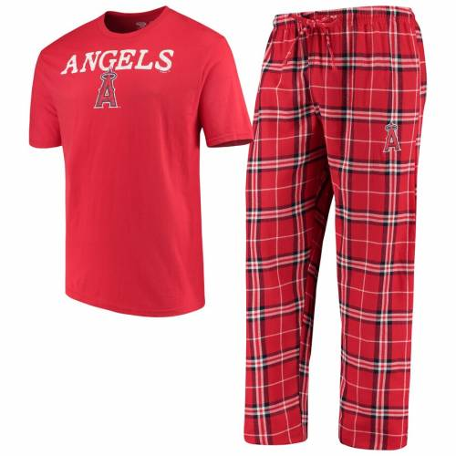 CONCEPTS SPORT エンジェルス 赤 レッド インナー 下着 ナイトウエア メンズ ナイト ルーム パジャマ 【 Los Angeles Angels Duo Pants And Top Set - Red 】 Red