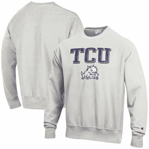 チャンピオン CHAMPION ロゴ リベンジ 灰色 グレー グレイ メンズファッション トップス スウェット トレーナー メンズ 【 Tcu Horned Frogs Arch Over Logo Reverse Weave Pullover Sweatshirt - Gray 】 Gray