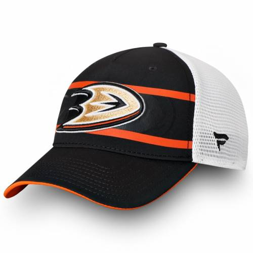 FANATICS BRANDED オーセンティック プロ トラッカー バッグ キャップ 帽子 メンズキャップ メンズ 【 Anaheim Ducks Authentic Pro Second Season Trucker Adjustable Hat - Black/white 】 Black/white