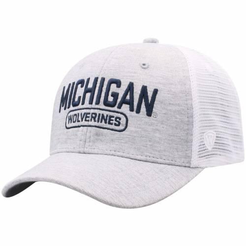 TOP OF THE WORLD ミシガン トラッカー スナップバック バッグ キャップ 帽子 メンズキャップ メンズ 【 Michigan Wolverines Top Notch Trucker Snapback Adjustable Hat - Gray/white 】 Gray/white