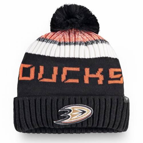 FANATICS BRANDED オーセンティック プロ ニット バッグ キャップ 帽子 メンズキャップ メンズ 【 Anaheim Ducks Authentic Pro Rinkside Goalie Cuffed Knit Hat With Pom - Black/orange 】 Black/orange