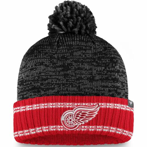 FANATICS BRANDED デトロイト 赤 レッド 灰色 グレー グレイ シリーズ ニット バッグ キャップ 帽子 メンズキャップ メンズ 【 Detroit Red Wings Gray Series Knit Hat With Pom - Charcoal/red 】 Charcoal/red
