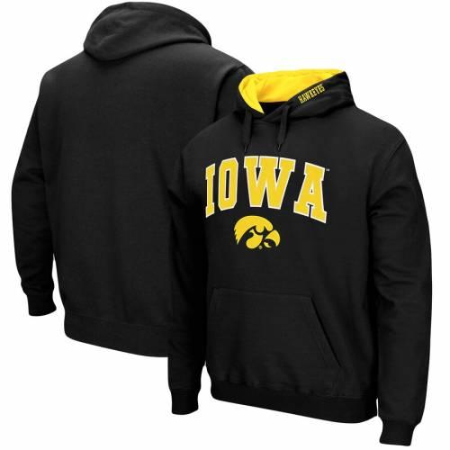 STADIUM ATHLETIC ロゴ 黒 ブラック メンズファッション トップス スウェット トレーナー メンズ 【 Iowa Hawkeyes Big And Tall Arch And Logo Tackle Twill Hooded Sweatshirt - Black 】 Black