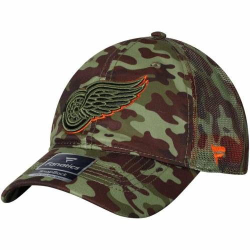 FANATICS BRANDED デトロイト 赤 レッド トラッカー バッグ キャップ 帽子 メンズキャップ メンズ 【 Detroit Red Wings Recon Trucker Adjustable Hat - Camo 】 Camo