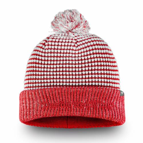FANATICS BRANDED デトロイト 赤 レッド ワッフル ニット バッグ キャップ 帽子 メンズキャップ メンズ 【 Detroit Red Wings Waffle Heavy Cuffed Knit Hat With Pom - White/red 】 White/red