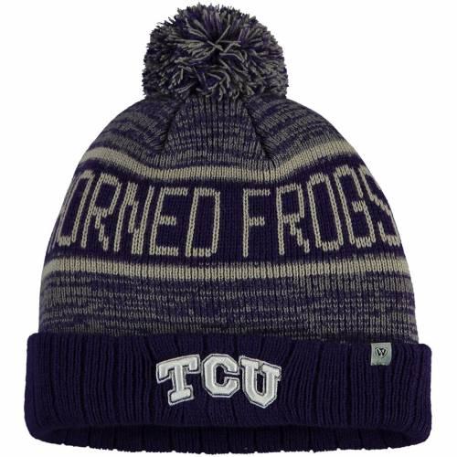TOP OF THE WORLD ニット 紫 パープル バッグ キャップ 帽子 メンズキャップ メンズ 【 Tcu Horned Frogs Acid Rain Cuffed Knit Hat With Pom - Purple 】 Purple
