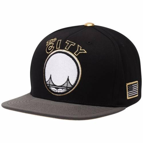 ミッチェル&ネス MITCHELL & NESS ウォリアーズ スナップバック バッグ キャップ 帽子 メンズキャップ メンズ 【 San Francisco Warriors Mitchell And Ness Gold Tip Adjustable Snapback Hat - Black/gray 】 Black/