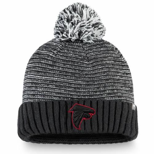NFL PRO LINE BY FANATICS BRANDED アトランタ ファルコンズ ニット 黒 ブラック バッグ キャップ 帽子 メンズキャップ メンズ 【 Atlanta Falcons Versalux Cuffed Knit Hat With Pom - Black 】 Black