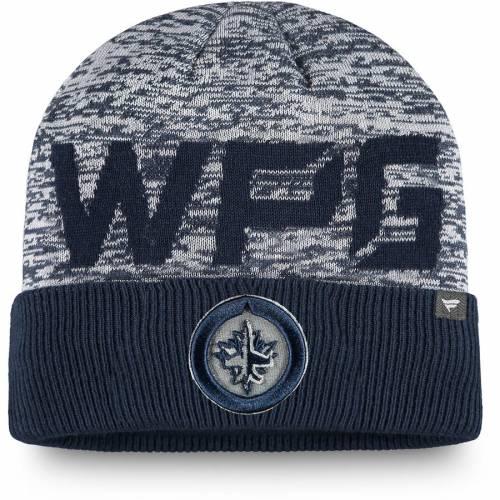FANATICS BRANDED ジェッツ オーセンティック プロ チーム ニット 紺 ネイビー バッグ キャップ 帽子 メンズキャップ メンズ 【 Winnipeg Jets Authentic Pro Team Clutch Cuffed Knit Hat - Navy 】 Navy