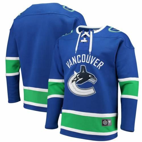 FANATICS BRANDED 青 ブルー メンズファッション トップス スウェット トレーナー メンズ 【 Vancouver Canucks Breakaway Lace Up Pullover Sweatshirt - Blue 】 Blue
