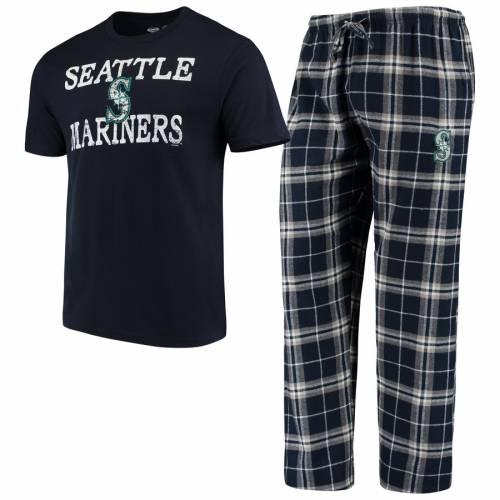 CONCEPTS SPORT シアトル マリナーズ 紺 ネイビー インナー 下着 ナイトウエア メンズ ナイト ルーム パジャマ 【 Seattle Mariners Duo Pants And Top Set - Navy 】 Navy