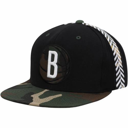 ミッチェル&ネス MITCHELL & NESS ブルックリン ネッツ スナップバック バッグ 黒 ブラック キャップ 帽子 メンズキャップ メンズ 【 Brooklyn Nets Mitchell And Ness Straight Camo Snapback Hat - Black 】
