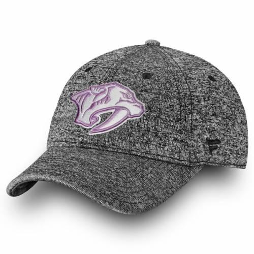 FANATICS BRANDED 黒 ブラック バッグ キャップ 帽子 メンズキャップ メンズ 【 Nashville Predators 2018 Hockey Fights Cancer Fundamental Adjustable Hat - Heathered Black 】 Heathered Black