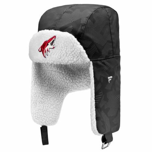 FANATICS BRANDED アリゾナ バッグ キャップ 帽子 メンズキャップ メンズ 【 Arizona Coyotes Iconic Trapper Hat - Black/white 】 Black/white