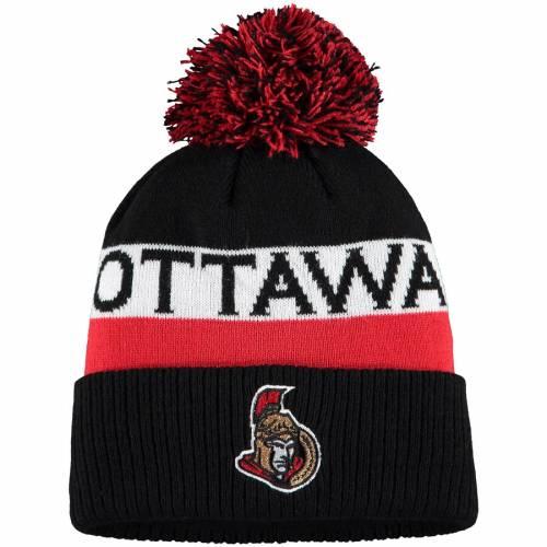 アディダス ADIDAS ニット 黒 ブラック バッグ キャップ 帽子 メンズキャップ メンズ 【 Ottawa Senators Culture Head Name Cuffed Knit Hat With Pom - Black 】 Black