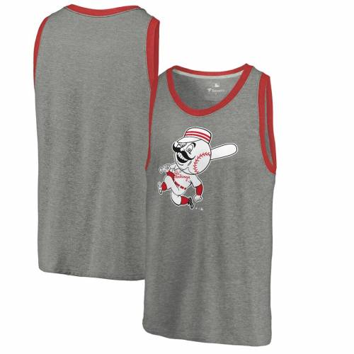 FANATICS BRANDED シンシナティ レッズ クーパーズタウン コレクション タンクトップ 灰色 グレー グレイ 【 GRAY FANATICS BRANDED CINCINNATI REDS COOPERSTOWN COLLECTION HUNTINGTON TRIBLEND TANK TOP HEATHERED 】 メ