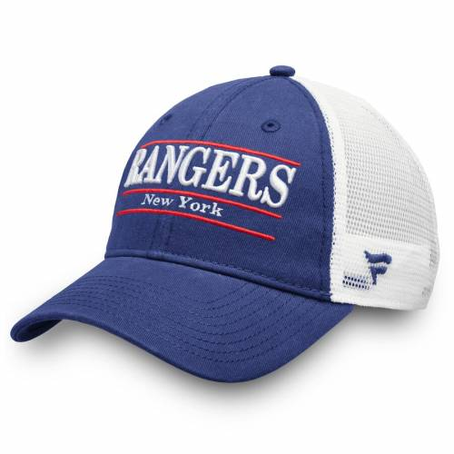 FANATICS BRANDED レンジャーズ トラッカー チーム 青 ブルー バッグ キャップ 帽子 メンズキャップ メンズ 【 New York Rangers Trucker Team Color Adjustable Hat - Blue 】 Blue